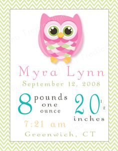 Custom Birth Stats Owl Nursery Print by FreckledPrints on Etsy, $18.00