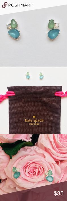"New Kate Spade Blue & Green Cluster Stud Earrings New with tags and jewelry bag - Kate Spade cluster stud earrings featuring faceted blue, green, and opal-colored stones. These earrings are gorgeous - they are both delicate and bold. Beautiful colors. Each earring measures just over .5"" long/across. Post back. kate spade Jewelry Earrings"