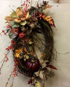 Magnolia Harvest Wreath Thanksgiving Wreaths, Autumn Wreaths, Christmas Wreaths, Diy Wreath, Grapevine Wreath, Wreath Ideas, Magnolia Wreath, Deco Mesh Wreaths, Summer Wreath