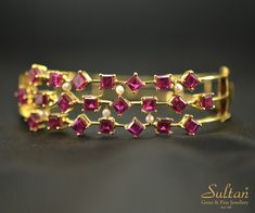 Elegant bracelet well crafted with Garnets using 18k yellow gold. Kindly email to info@sultanjewels.com and pls mention the design reference from pinterest