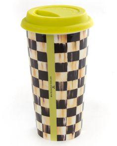 H7P4J MacKenzie-Childs Courtly Check Travel Mug