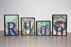 Personalized Blocks Where the wild things are - made using Real book pages. $7.00, via Etsy.