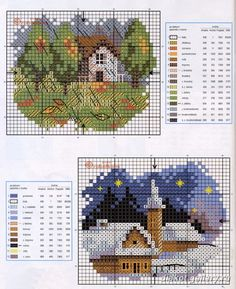 the winter scene would make a nice Christmas card, matted onto white glitter card stock and a dark blue card  Houses.Casas.Villas.Maisons - LovingCrossStitch - Picasa Web Albums