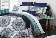 Cabo Quilt Cover Set - blues and greens are perfectly relaxing for the bedroom | Super A-Mart