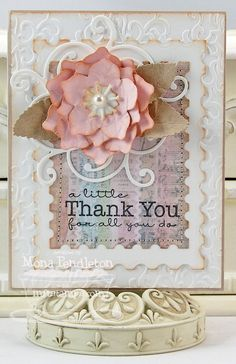 Gift Card Greetings, Winter Rose Die-namics, Sentimental Flourish Die-namics, Postage Stamp STAX Die-namics - Mona Pendleton
