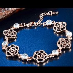 Black Rose Rhinestone Bracelet Perfect for every event! Jewelry Bracelets