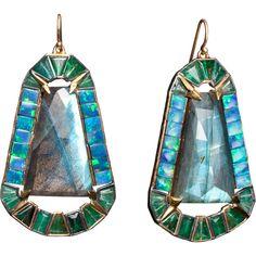 Nak Armstrong Labradorite, Boulder Opal & Emerald Earrings