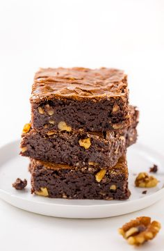 Thick and chewy Brown Butter Walnut Brownies! These are so flavorful and delicious.
