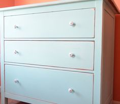 IKEA Hack: Hemnes chest makeover, orange and aqua bedroom Hemnes Drawers, 3 Drawer Dresser, 3 Drawer Chest, Chest Of Drawers, Dressers, Ikea Makeover, Master Bedroom Makeover, Baby Room Decor, Dream Decor