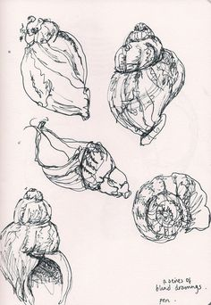 Line Art Drawings Sketches Ink Illustrations 54 Ideas Ink Pen Drawings, Cool Drawings, Contour Drawings, Blind Contour Drawing, Drawing Faces, Beautiful Drawings, Shell Drawing, Observational Drawing, A Level Art
