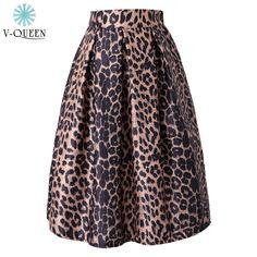 Women Satin Skirt Fashion 2015 Autumn Winter Leopard Knee-Length High Waist Ball Gown Pleated Midi Tutu Ladies Skirts  A150308