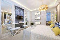 Suíte do Casal na Mostra Morar Mais Vitória, projetada pelas grandes designers de interiores Eliana Ahnert e Fabiana Tonini.