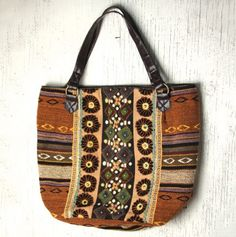 Embroidered Patchwork Tote / Boho Bag