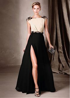 Buy discount Amazing Chiffon Bateau Neckline A-Line Evening Dresses With Beads at Magbridal.com