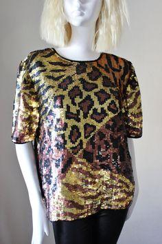Sequin top, vintage, animal print, pure silk, leopard, Laurence Kazar, short sleeve, petite Medium. Unique, hard to find. Great condition