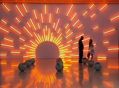 Mark Handforth installation at Perez Museum of Art Linear Lighting, Neon Lighting, Bar Lighting, Lighting Design, Nightclub Design, Church Stage Design, Bright Art, Exhibition Booth, Light Installation