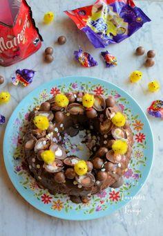 Lavender and Lovage | Creme Egg and Malteser Chocolate Tiffin Bundt Cake | http://www.lavenderandlovage.com