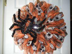 Halloween Deco Mesh Wreath/Spider Deco Mesh by DecoDaneWreaths