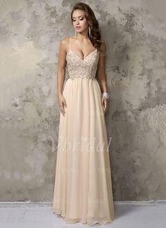 Kleid · A-Linie Princess-Linie V-Ausschnitt Bodenlang Rüschen  Perlenstickerei Chiffon Reißverschluss Spaghetti d429c9c378