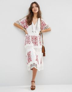 Red and White Embroidered Midi Dress - Straight A Style