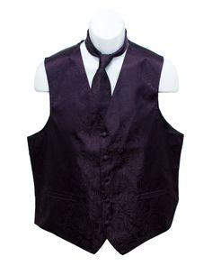 Groomsmen vest: purple paisly jacquard