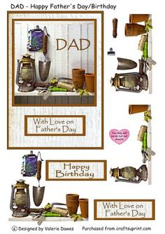 A great card for any dad with a love of pottering in the garden or the garden shed. Useful for Father's day and Birthdays. Also available with the word 'DAD removed to a separate tag to make this card suitable for other males on other occasions - cup61040_203