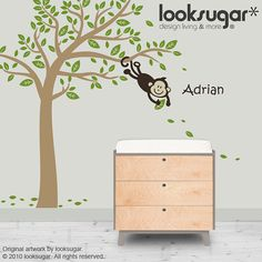 Monkey Tree Wall Decal from LooksSugar on Etsy.  Grey tree with light pink and light green leaves, dark brown monkey.