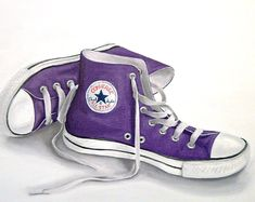 cheap converse all star shoes, i totally had this idea all on my own like 3 days ago. only difference is i said light blue shoes for something blue.-------- Peacock painted on I so want these! Purple Converse High Tops, Cheap Converse, Purple Sneakers, Purple Shoes, Converse Sneakers, Converse All Star, High Top Sneakers, Purple Trainers, Costumes