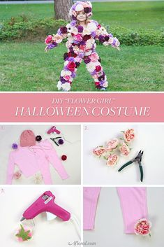 "DIY ""Flower Girl"" Halloween Costume with Silk Flowers & a Helpful Tutorial from Afloral.com Pastel Flowers, Faux Flowers, Diy Flowers, Pastel Colors, Halloween Costumes For Girls, Diy Costumes, Halloween Diy, Drop Dumplings, Creative Crafts"