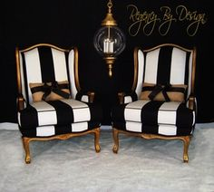 GILT FRENCH BERGERES CHAIRS Two hand gilted French Bergères Chairs, done with an aged gold finish and upholstered in a bold black and white striped fabric. Accented with handmade vintage burlap bow cushions. These chairs were. Decor Interior Design, Furniture Design, Interior Decorating, Gold Furniture, Decorating Ideas, Deco Ethnic Chic, Black And White Furniture, Black And White Chair, Black White