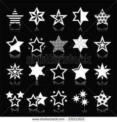 Stars white icons with reflection isolated on black by RedKoala #Christmas #xmas