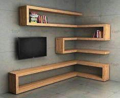 home decor - Corner Wall Shelves Design Ideas for Living Room 10 Creative Bookshelves, Corner Bookshelves, Corner Wall Shelves, Tv Shelf, Bedroom Shelves, Corner Storage, Ikea Shelves, White Shelves, Closet Shelves