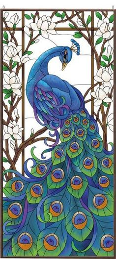 Art Panel-APM604R-Peacock - Peacock Faux Stained Glass, Stained Glass Designs, Stained Glass Panels, Stained Glass Patterns, Mosaic Patterns, Peacock Wall Art, Peacock Painting, Fabric Painting, Peacock Drawing