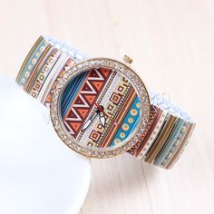 Women Wrist Watch Zinc Alloy with Glass Stainless Steel Chinese movement Flat Round gold color plated printing for woman with rhinestone nickel lead cadmium free 40mm - Milky Way Jewelry