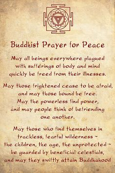 Buddhist Prayer for Peace