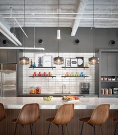 Gensler Offices San Diego Colorful Decorative Modern Office Kitchen With Open Shelving Commercial Kitchen