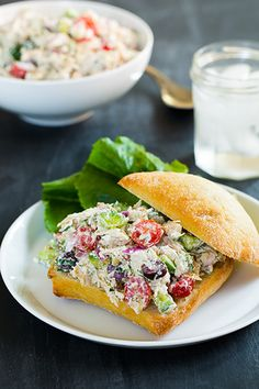 Greek Chicken Salad Sandwiches (yum, has feta and dill and lemon juice in it!)