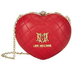 Love Moschino Quilted Heart Box Clutch (£115) ❤ liked on Polyvore featuring bags, handbags, clutches, red crossbody, red handbags, red purse, red cross body purse and box clutch