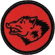 "Retro Wild Boar Patrol Patch - 2"" Diameter Round Embroidered Patch"