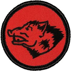"Retro Wild Boar Patrol Patch - 2"" Diameter Round Embroidered Patch"