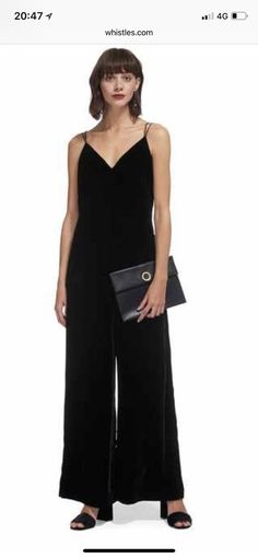 9bac38c5e74 Whistles Gabrielle black velvet jumpsuit Hidden side zip to fasten Lightly  worn - lovely condition fitted style thin straps with cross over detail at  back ...