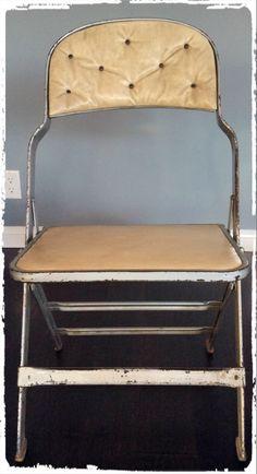 Retro Metal Padded Folding Chair w/Nail Heads