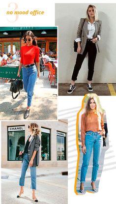 No mood office: já te provamos que o mom jeans funciona como ninguém em looks despojados e também em um produções mais sexy de balada. Mas nesse post, nós prometemos que ele vai bem em toda ocasião, não é? Então dá uma olhada como a peça fica extremamente elegante para looks de trabalho também: é só combinar o mom jeans com um blazer (o xadrez fica pra lá de cool) e um sapato fechado como scarpin ou sapatilha. O truque da camisa branca por baixo de um blazer também fica super elegante para…