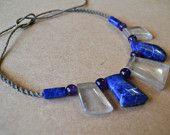Quartz Blue Gemstone Necklace/ Sodalite/ Amythest/ Blue and Purple/ Healing Stone/ Gemstone Necklace