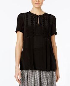 Weekend Max Mara Landa Embroidered Silk-Front Top - Black XS