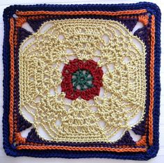 "Pineapple Expression 9 1/2"" Afghan Block Square Motif By Margaret MacInnis - Free Crochet Pattern - (ravelry)"