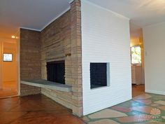 Use the shape of the curved mantle here for the front porch with the atomic brick facade.