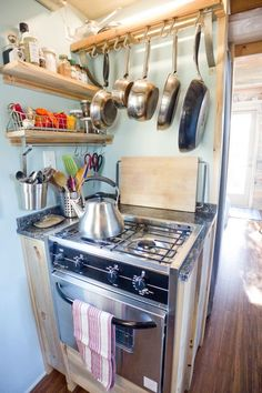 Everything you actually NEED in a kitchen in one little corner (I'm talking about cookware, not the fridge, plates, etc. lol). Nice and neat, yet fit for a small space! - Nessa