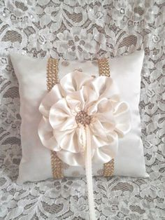 Ivory and Gold Satin Ring Bearer Pillow by AllAHeartDesires