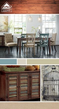 Mix & Match - Each guest can have their own cool chair! (Mestler Dining Room - Ashley Furniture HomeStore)
